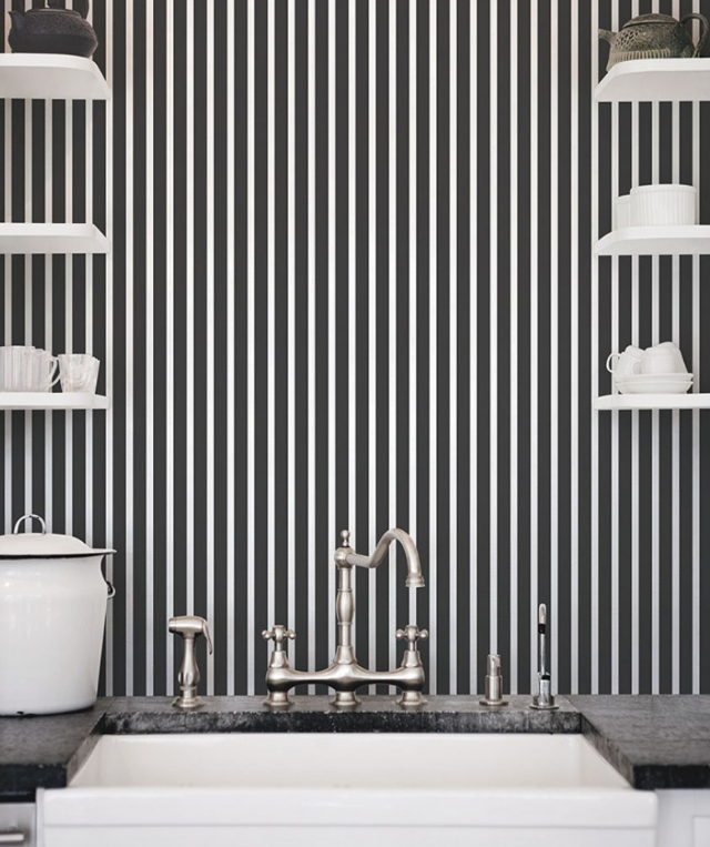 Parati righe nero e bianco design italiano contemporaneo in vinilico lavabile G67539 Smart Stripes 2..