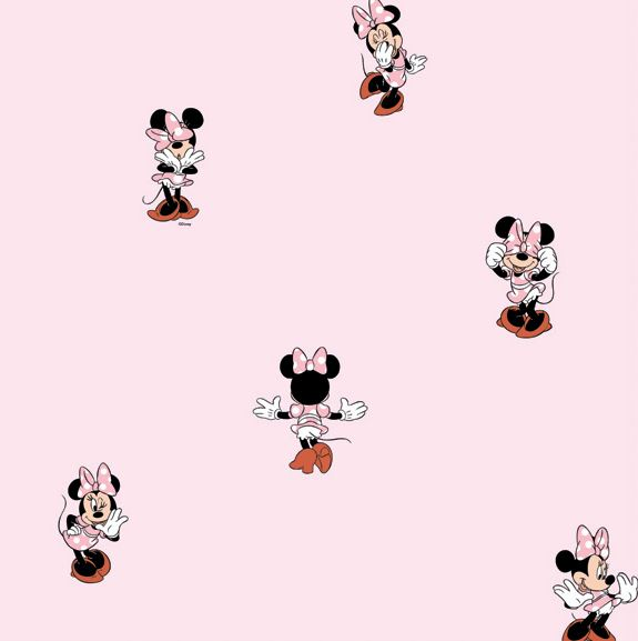 Carta da parato disney cameretta minnie mouse ottima qualita' in carta semilucida lavabile fondo rosa e scenette con minnie colorate MN 3002-3 Disney Deco Dandino Rasch textil.
