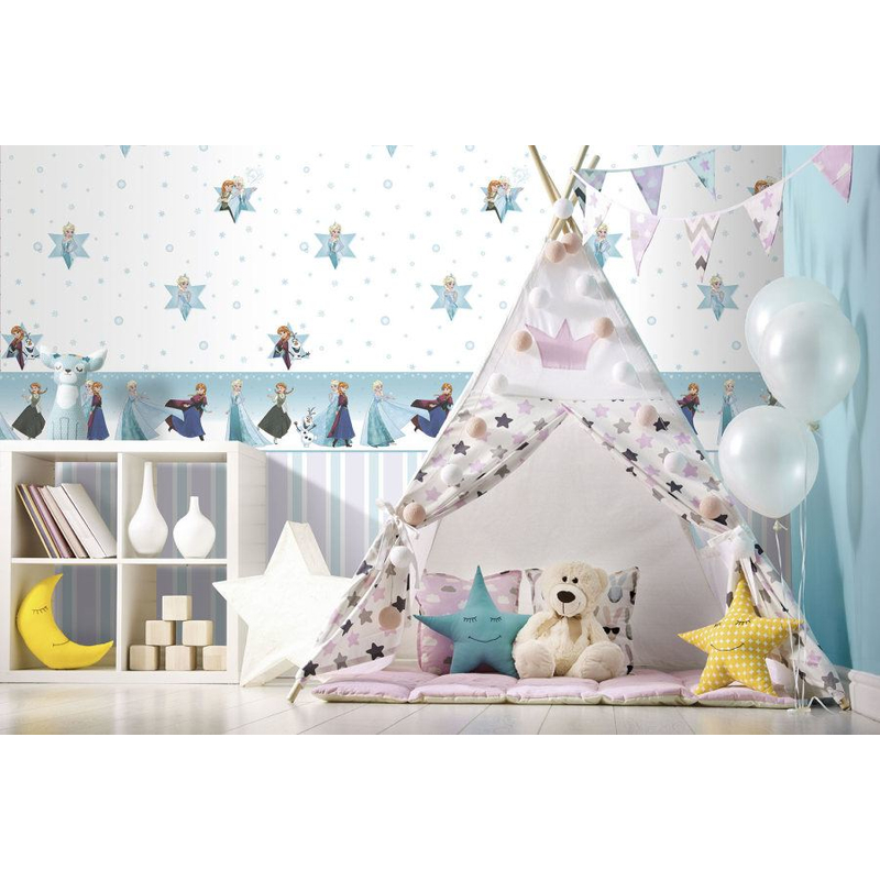 Parati camerette frozen bianco e verde tiffany in carta lavabile disney fantasy deco dandino fr3024-3..