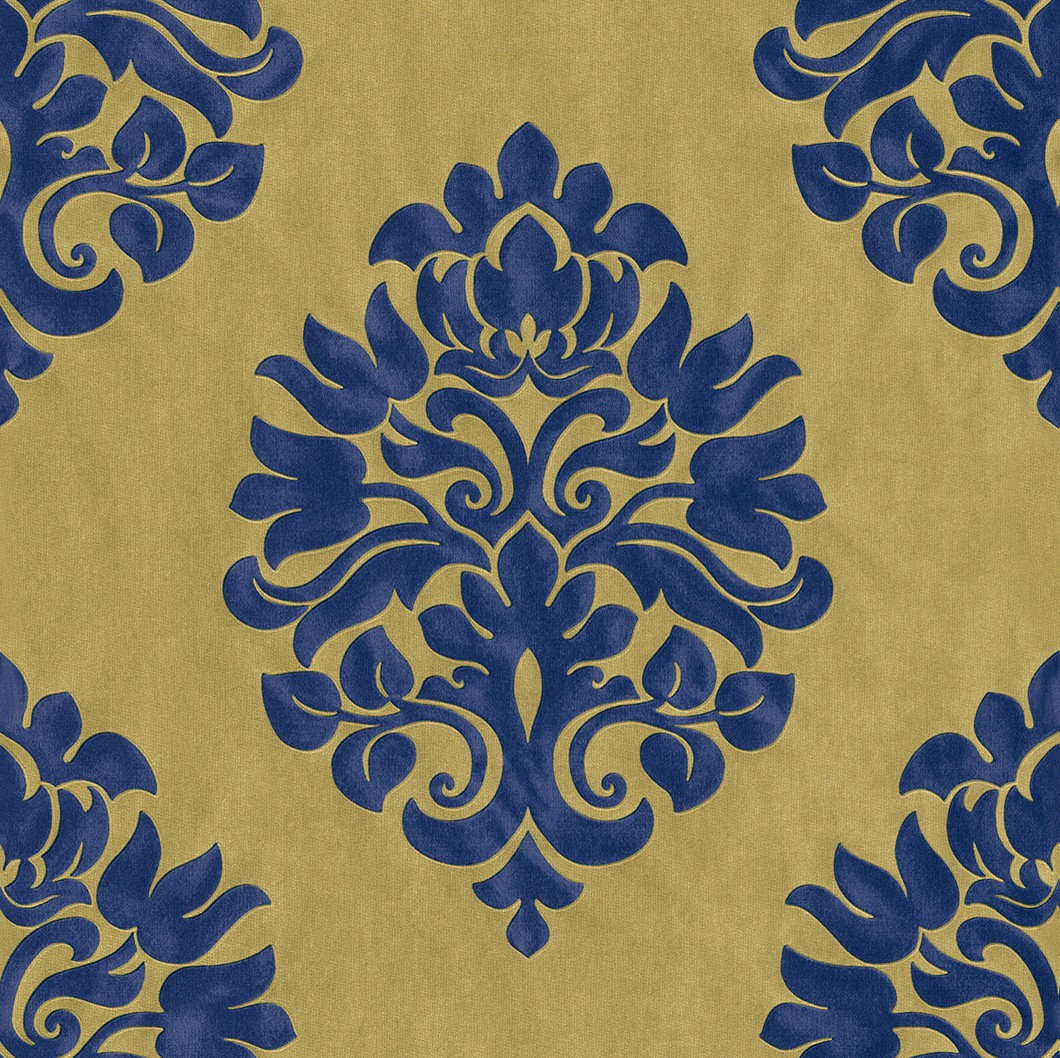 Carta da parato en suite 545722 con damasco blu e oro in for Carte da parati decorative