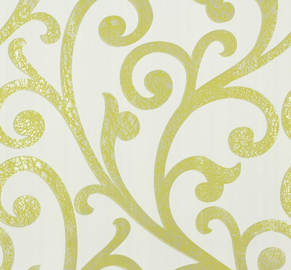 Parato damasco verde a rilievo lucido su fondo bianco Ornamental home - 55248 Marburg.