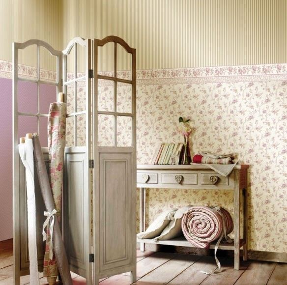 Latest carta da parati floreale shabby chic country glicine avorio marrone in carta italian - Camera da letto inglese ...