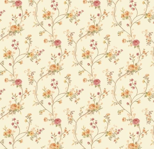 Rotoli di parati shabby chic country floreale crema rosso ocra verde in carta italian wallpaper design fiori country 3402..