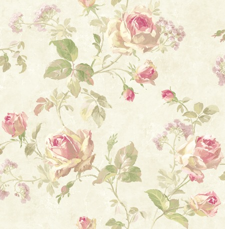 Carta Da Parati Floreale.Carta Da Parati Floreale Shabby Country Effetto Acquerello Lucido Metallizzato Sv60003 Savannah House Collection Fondo Chiaro E Rose Colorate Nei Toni