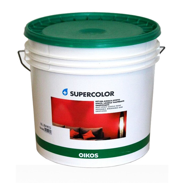 OIKOS SUPERCOLOR BIANCO, PITTURA ALL'ACQUA SUPERLAVABILE PER INTERNI ED ESTERNI DA LT.14.